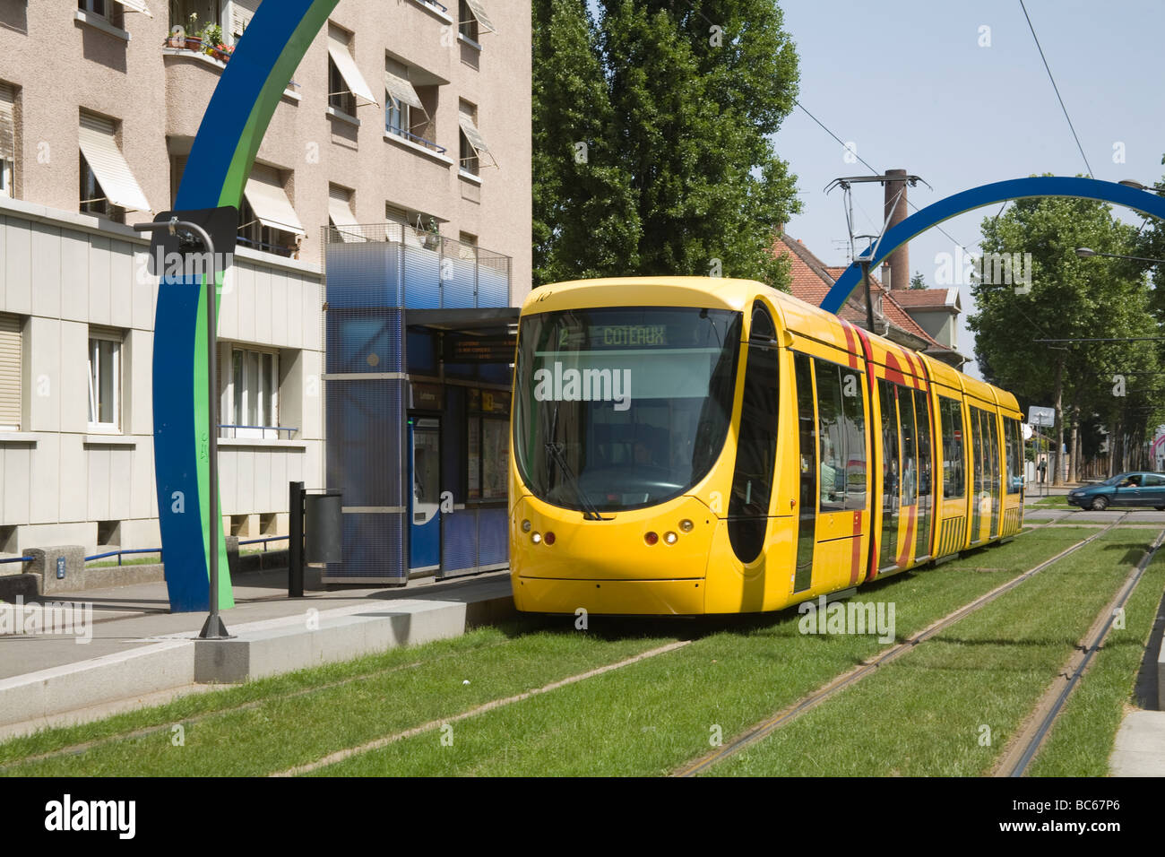 mulhouse alsace france eu city tram parked in lefebvre station stock photo royalty free image. Black Bedroom Furniture Sets. Home Design Ideas