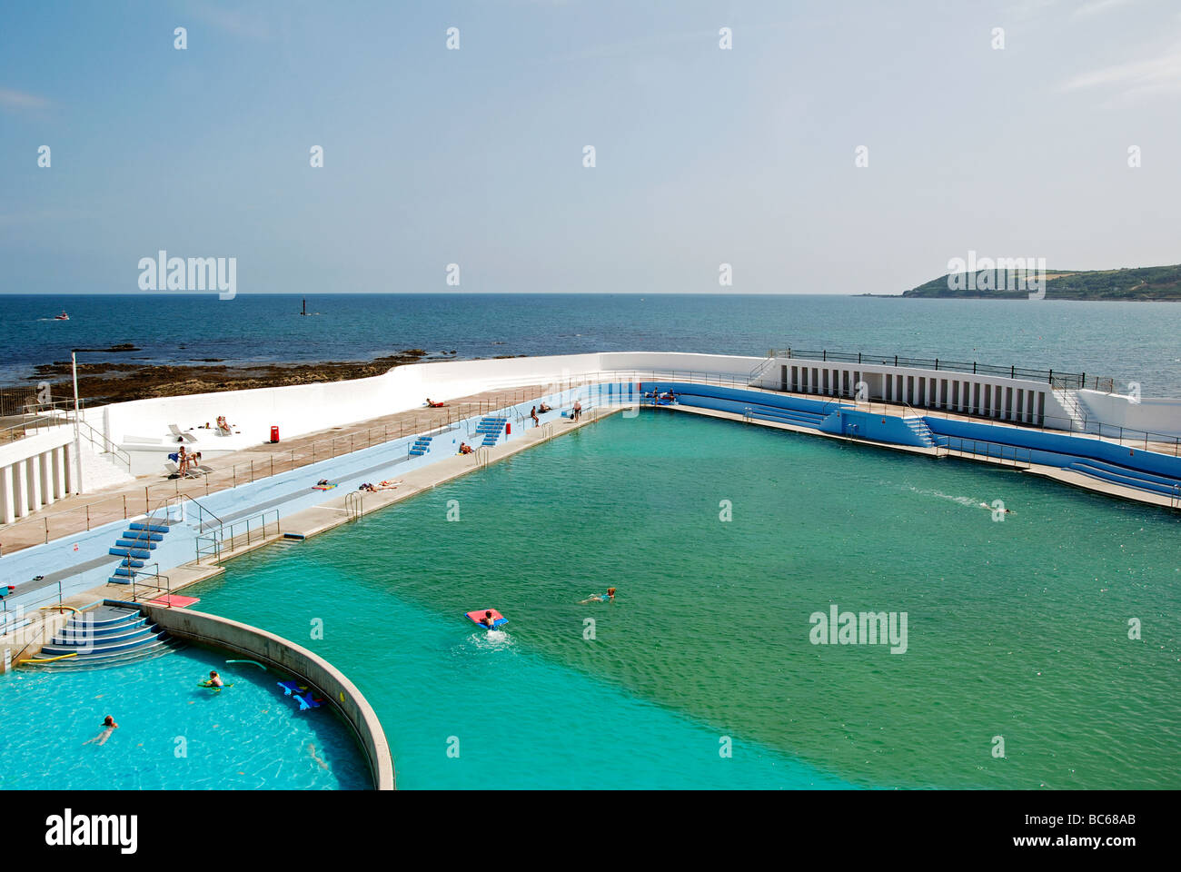 The Open Air Jubilee Swimming Pool On The Seafront At Penzance In Stock Photo Royalty Free
