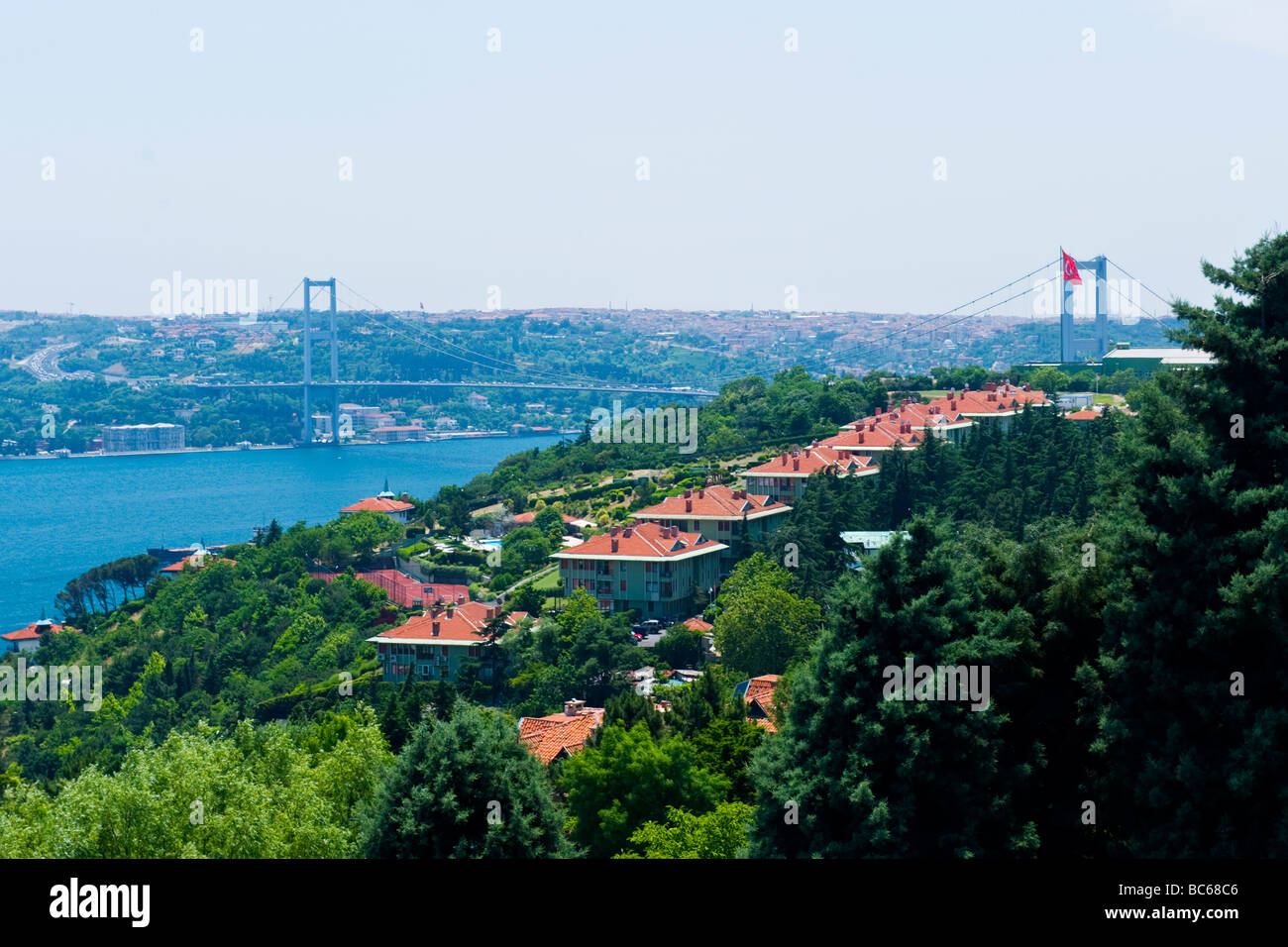 Turkey , Istanbul , view from the Ulus cafe restaurant on hills ...