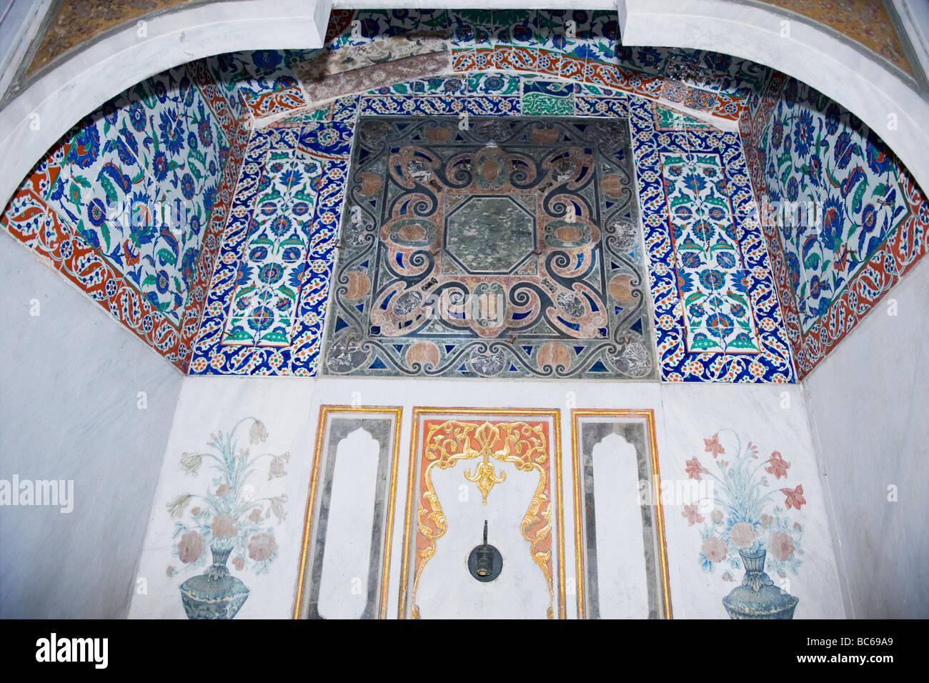 Turkey , Istanbul , Topkapi Palace , Wall Detail In Sultanu0027s Bathroom In  Harem Magnificent Blue Tiles Pattern U0026 Murals