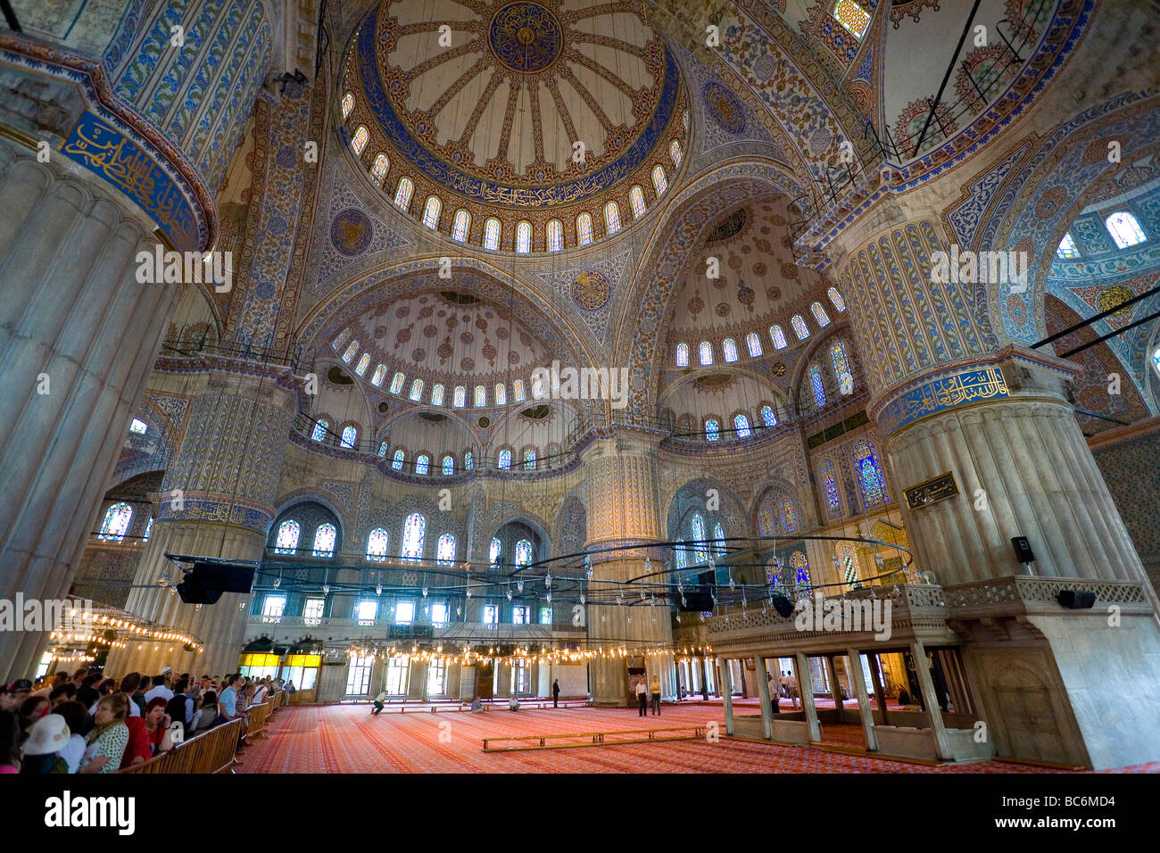The interior of the Blue Mosque Sultan Ahmet Camii Istanbul Stock Photo, Roya...