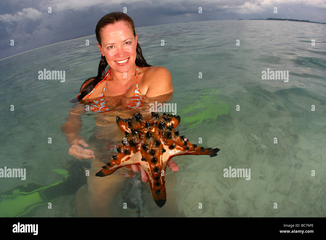 A woman who has been snorkeling holding a Chocolate Chip Starfish ...