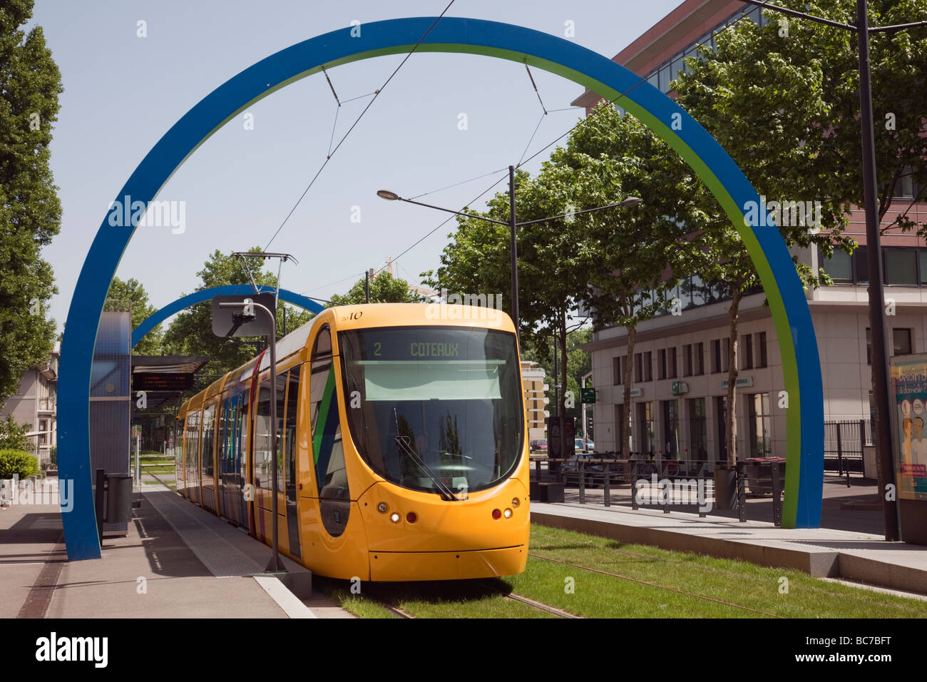 mulhouse alsace france yellow city tram train in local station with stock photo 24748972 alamy. Black Bedroom Furniture Sets. Home Design Ideas