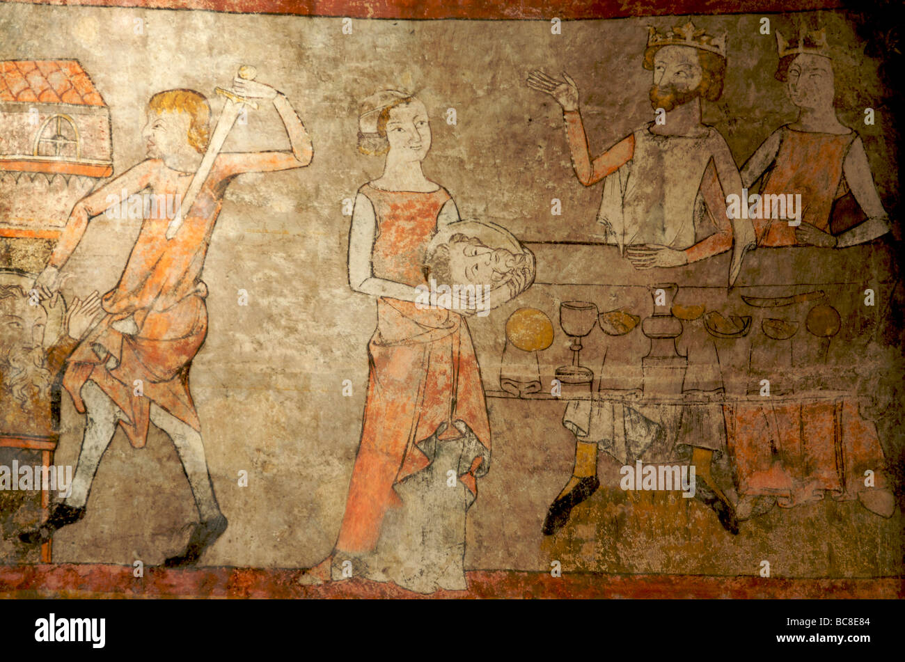 Fresco in the church of azerat in Auvergne. france Stock Photo ...