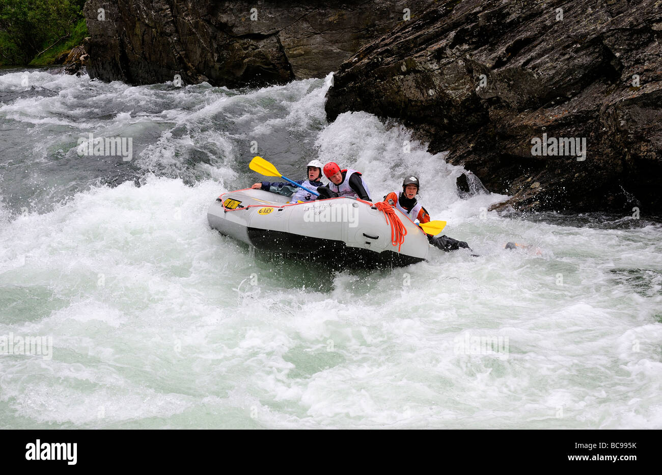 Rafting Competition In White Water River At Voss Norway