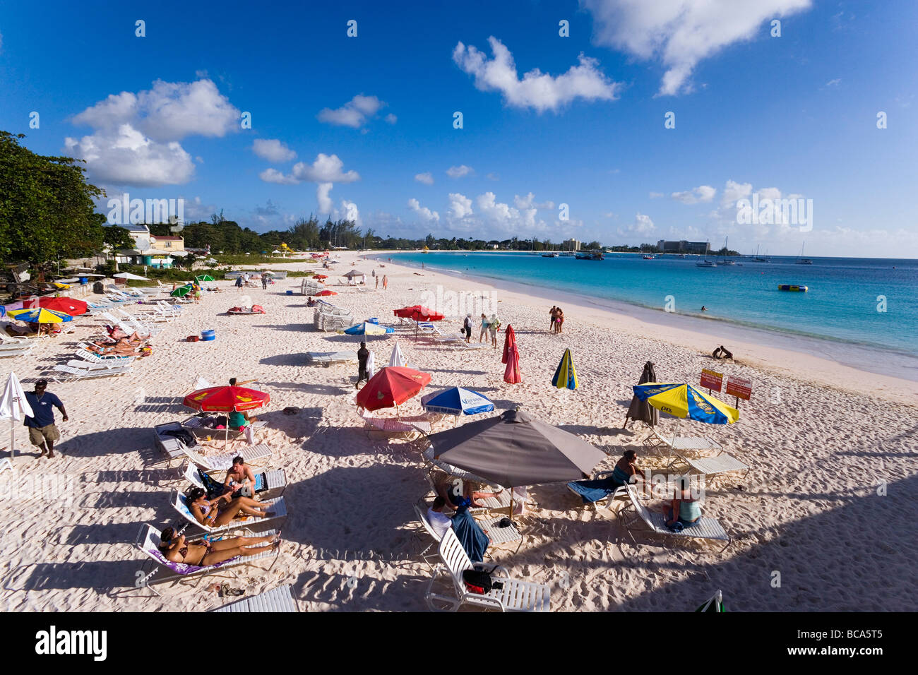 People Relaxing At Beach Bridgetown Barbados Caribbean