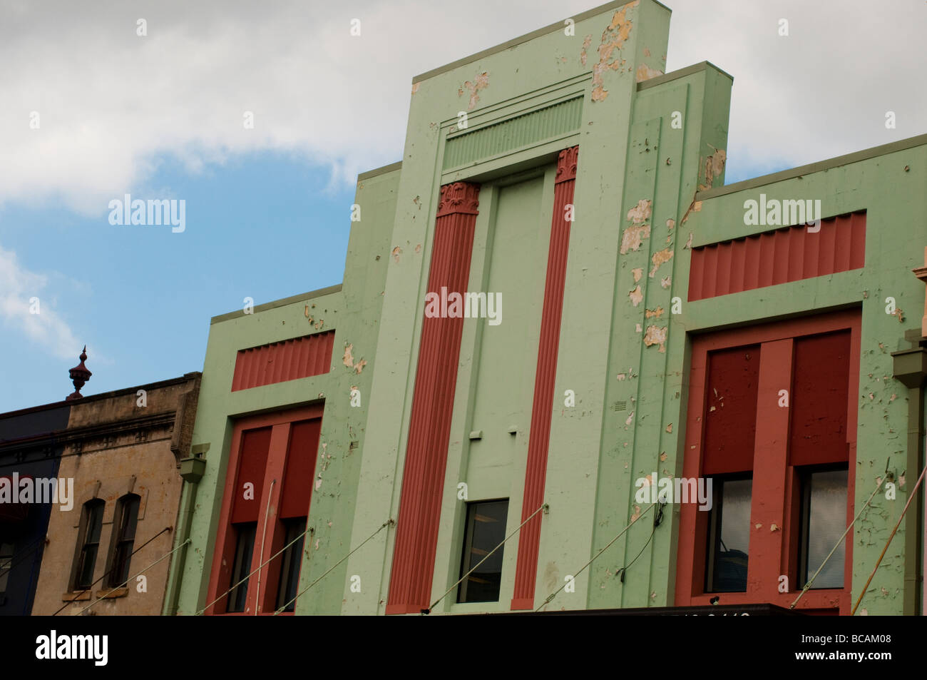 Run down Art Deco facade on King Street, Newtown, Sydney, NSW, Australia