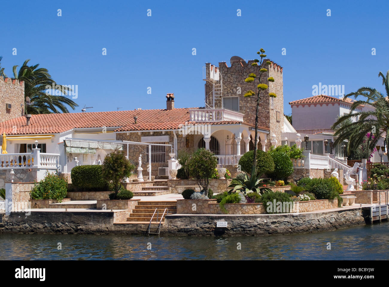 Beautiful villas on the canal network at empuriabrava costa brava spain