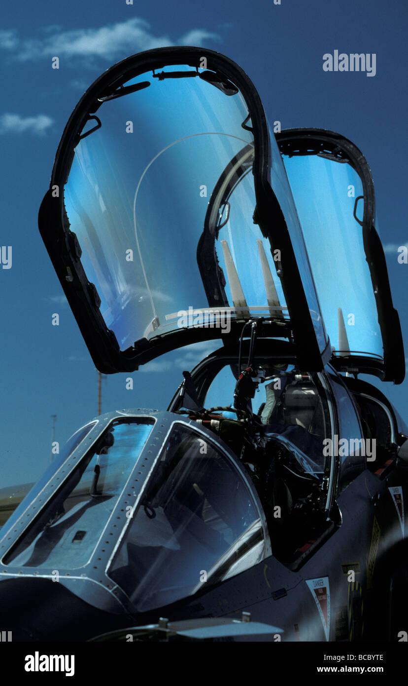 Closeup of a French Dassault Alpha Jet fighter cockpit and canopy & Closeup of a French Dassault Alpha Jet fighter cockpit and canopy ...