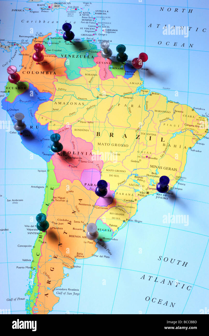 Map Pins In South America Map Stock Photo Royalty Free Image - South america map