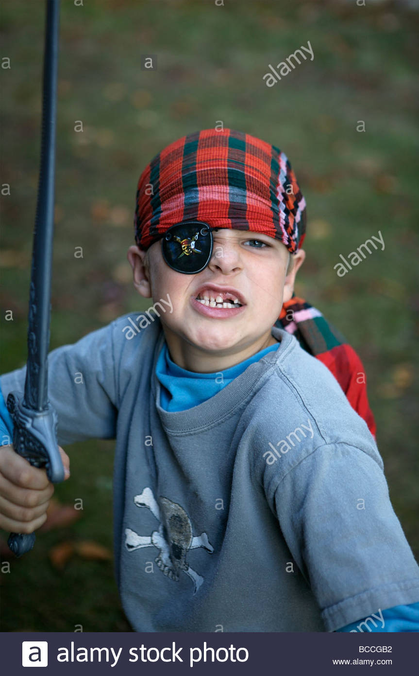 A 7 year-old boy in his pirate Halloween costume Stock Photo ...