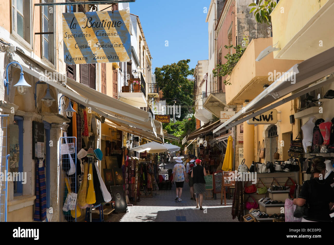 Shops in the Old Town near the Venetian Harbour, Chania ...