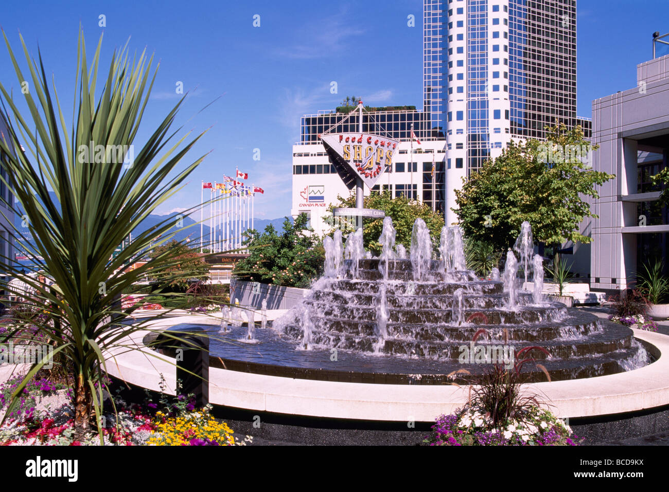 Water fountains canada - Stock Photo Water Fountain At Waterfront Centre Overlooking Canada Place Trade And Convention Centre Vancouver British Columbia Canada