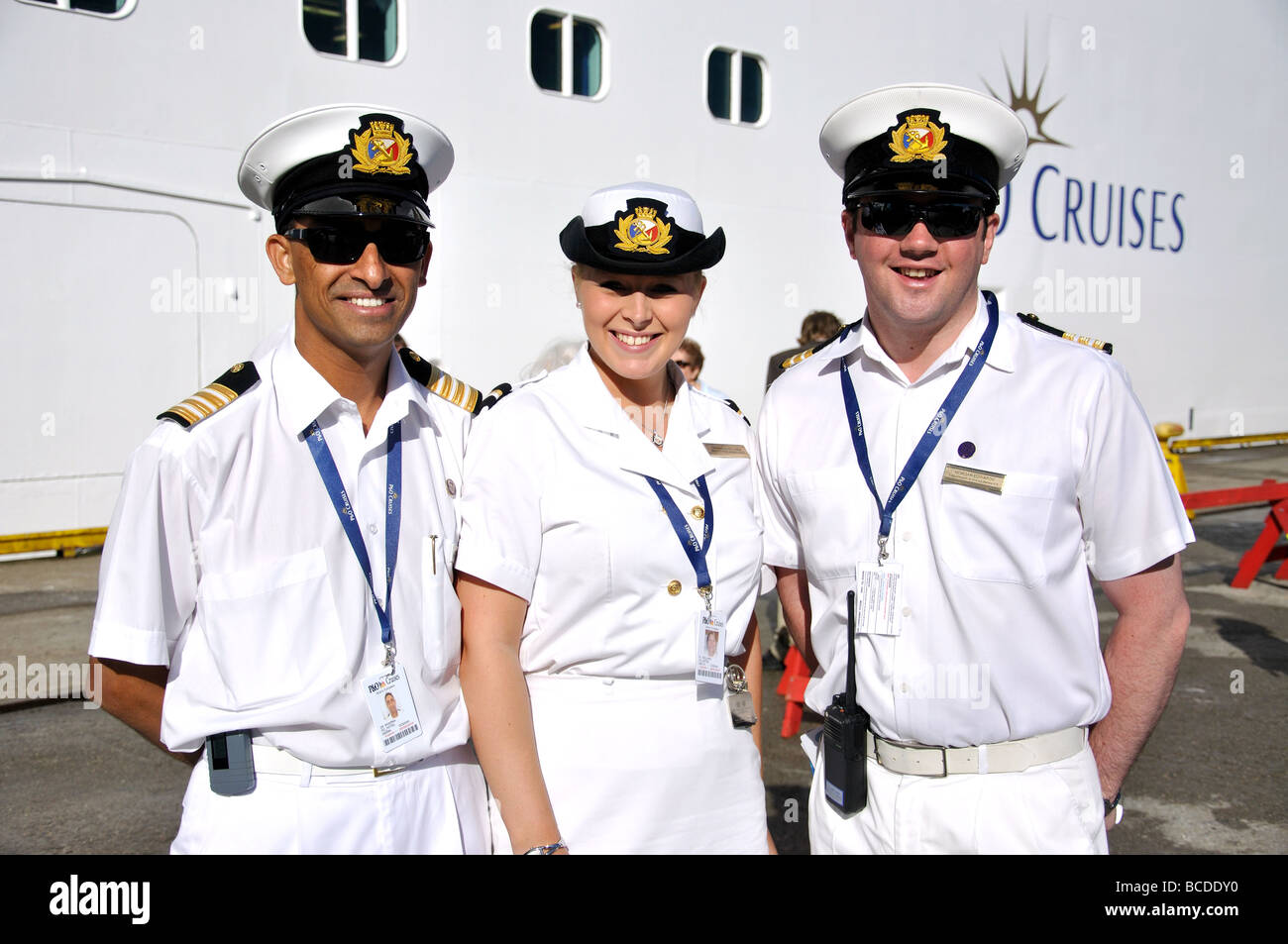 Officers From PampO Oceana Cruise Ship On Jetty Bergen
