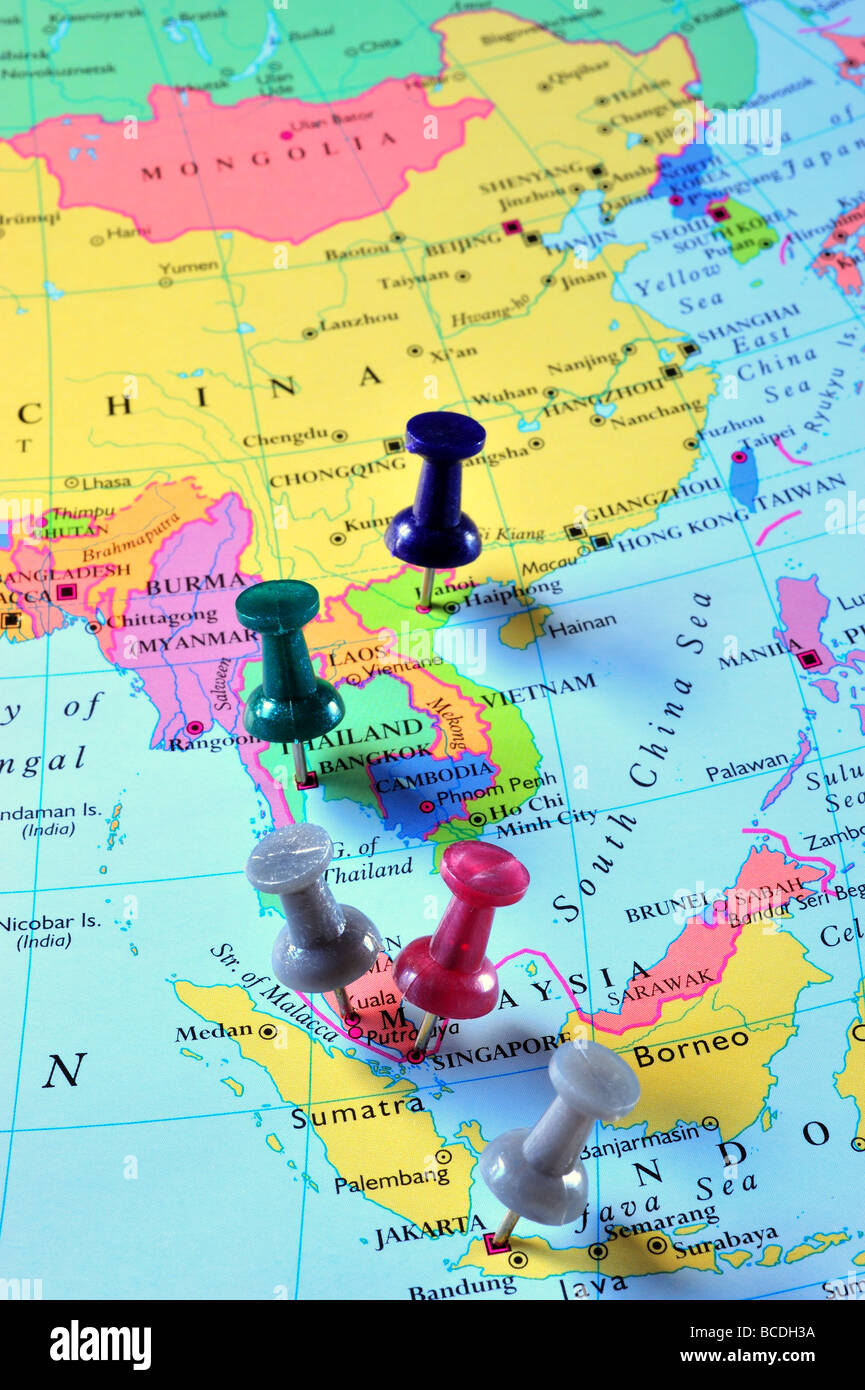 Map Pins In South East Asia Map Photo Royalty Free Image – East Asia and Southeast Asia Map