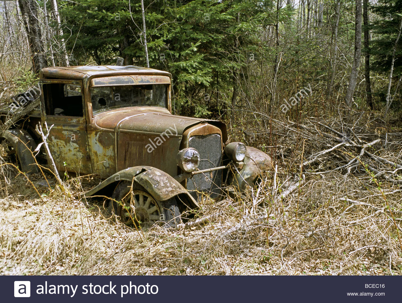 1929 Ford Model A pickup truck in an abandoned goldrush town