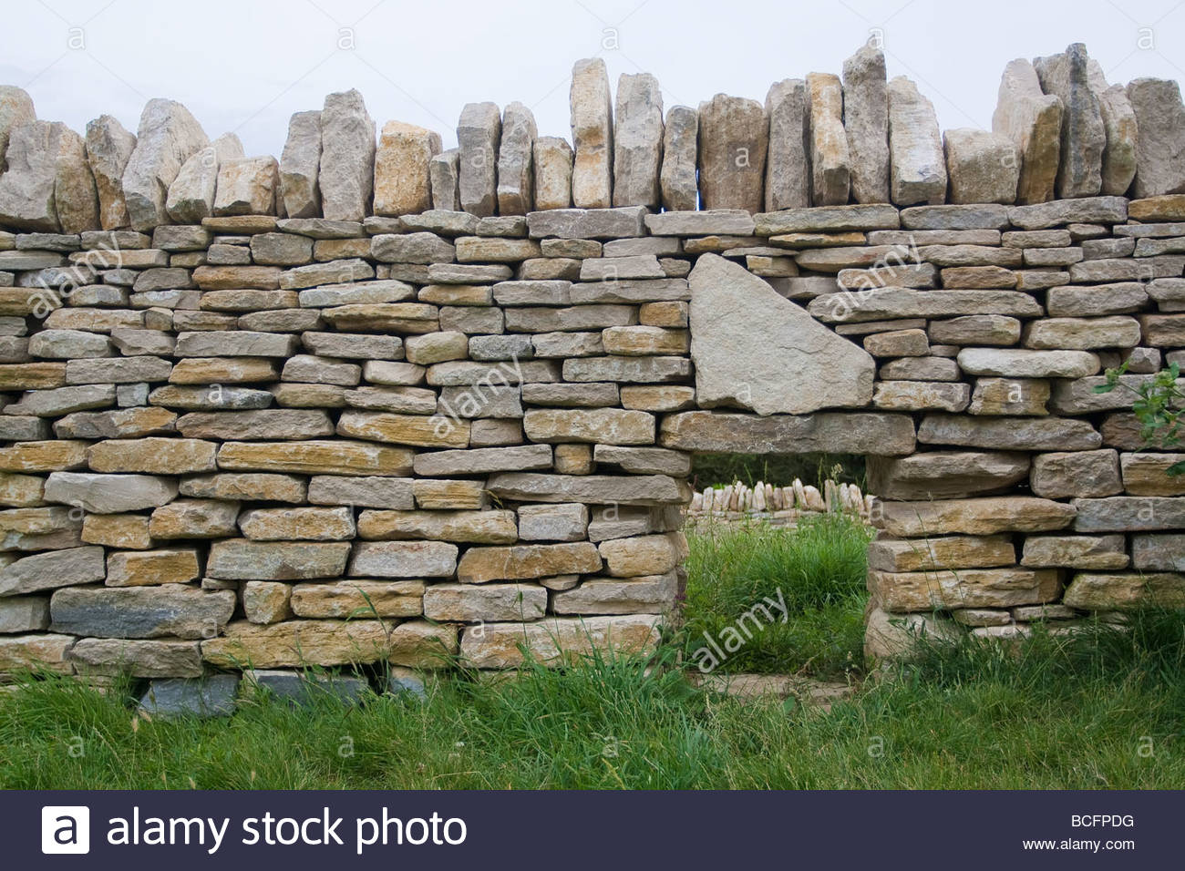 Dry Stone Wall With Hogget Hole Stock Photo Royalty Free
