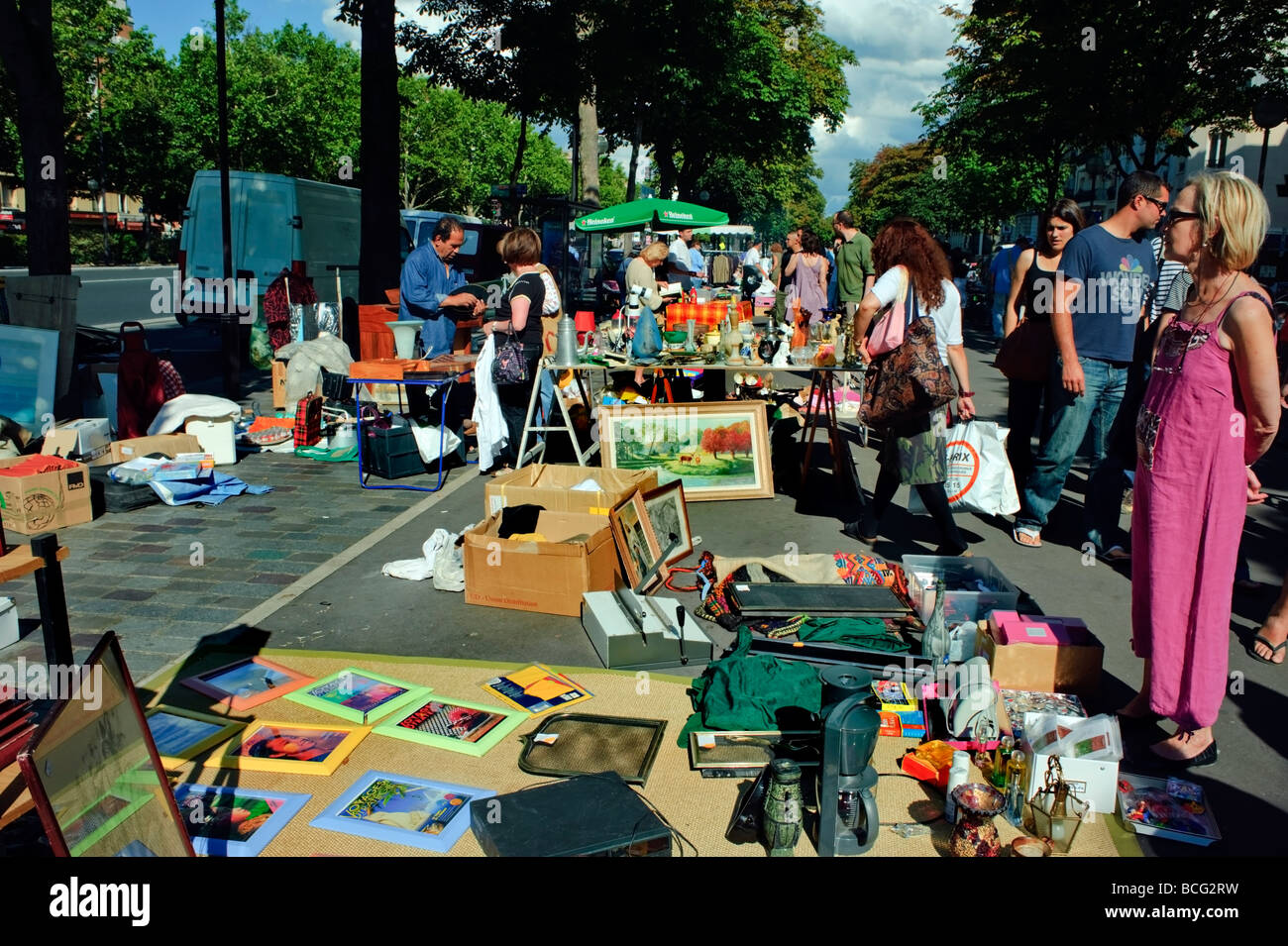 paris france crowd of people shopping outside public vide grenier stock photo royalty free. Black Bedroom Furniture Sets. Home Design Ideas