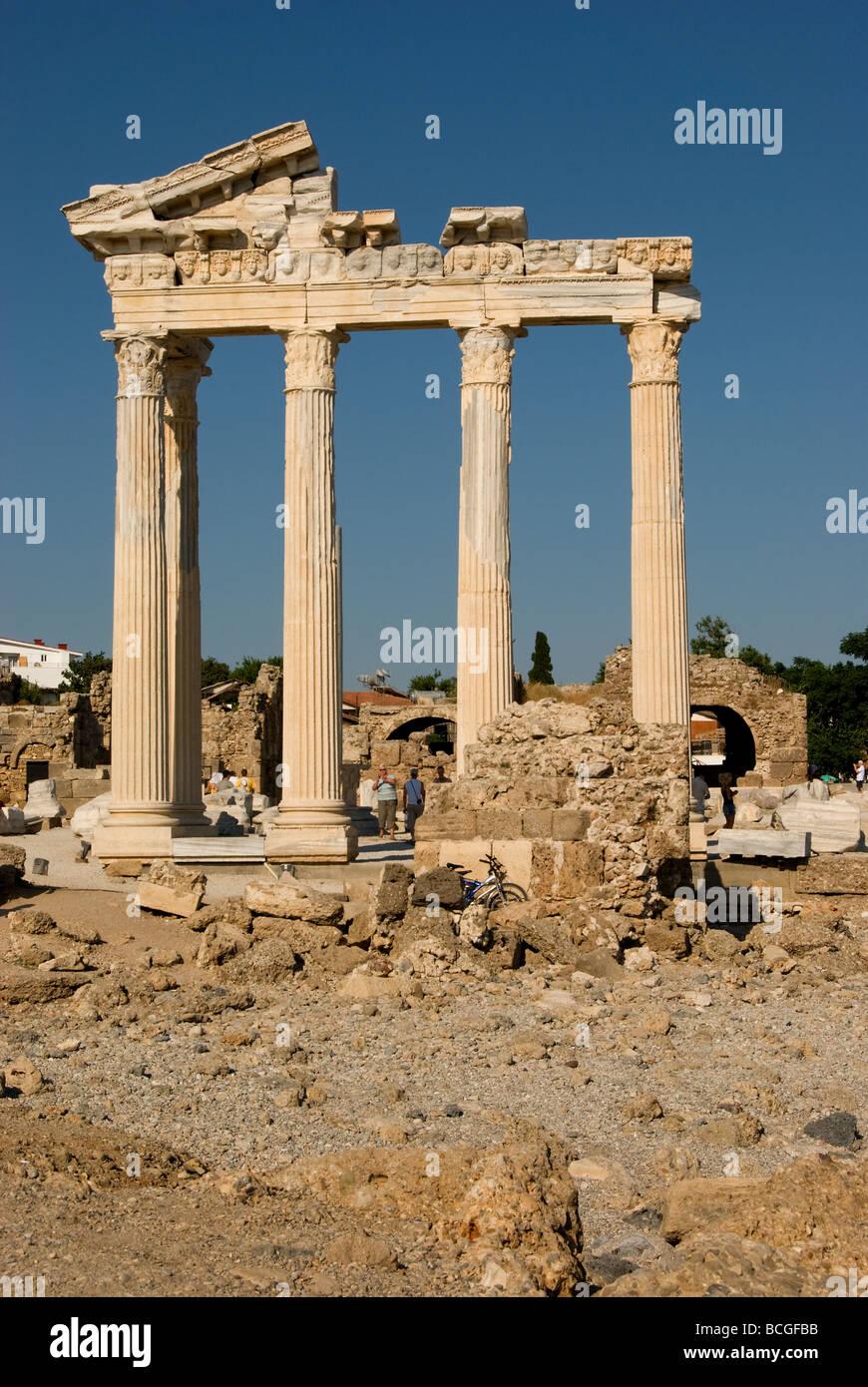 Temple of Apollo and Athena in Side, Turkey Stock Photo ...