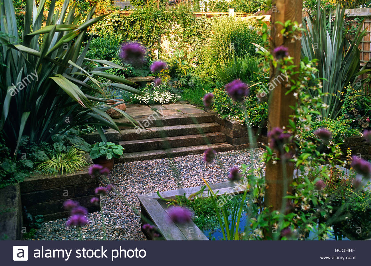 Patio Garden With Raised Bed Pool Gravel Paths Architectural Planting  Railway Sleeper Steps
