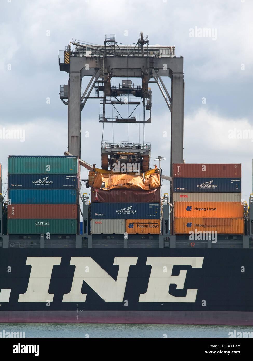 gantry-crane-boom-collapsed-onto-contain