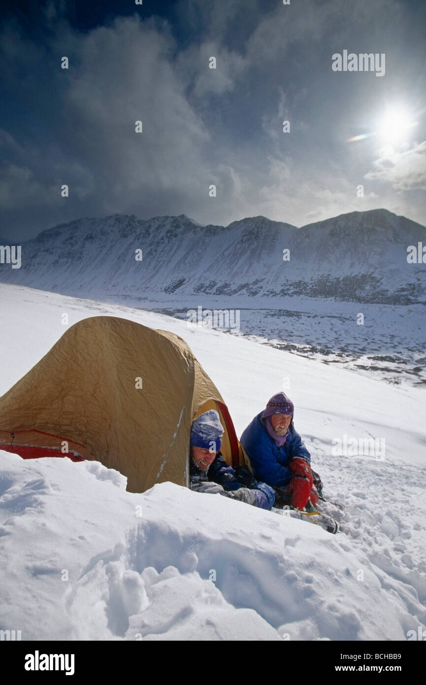 Mountain Climbers in Tent Snowstorm Chugach Mountains Southcentral Alaska Winter & Mountain Climbers in Tent Snowstorm Chugach Mountains Southcentral ...