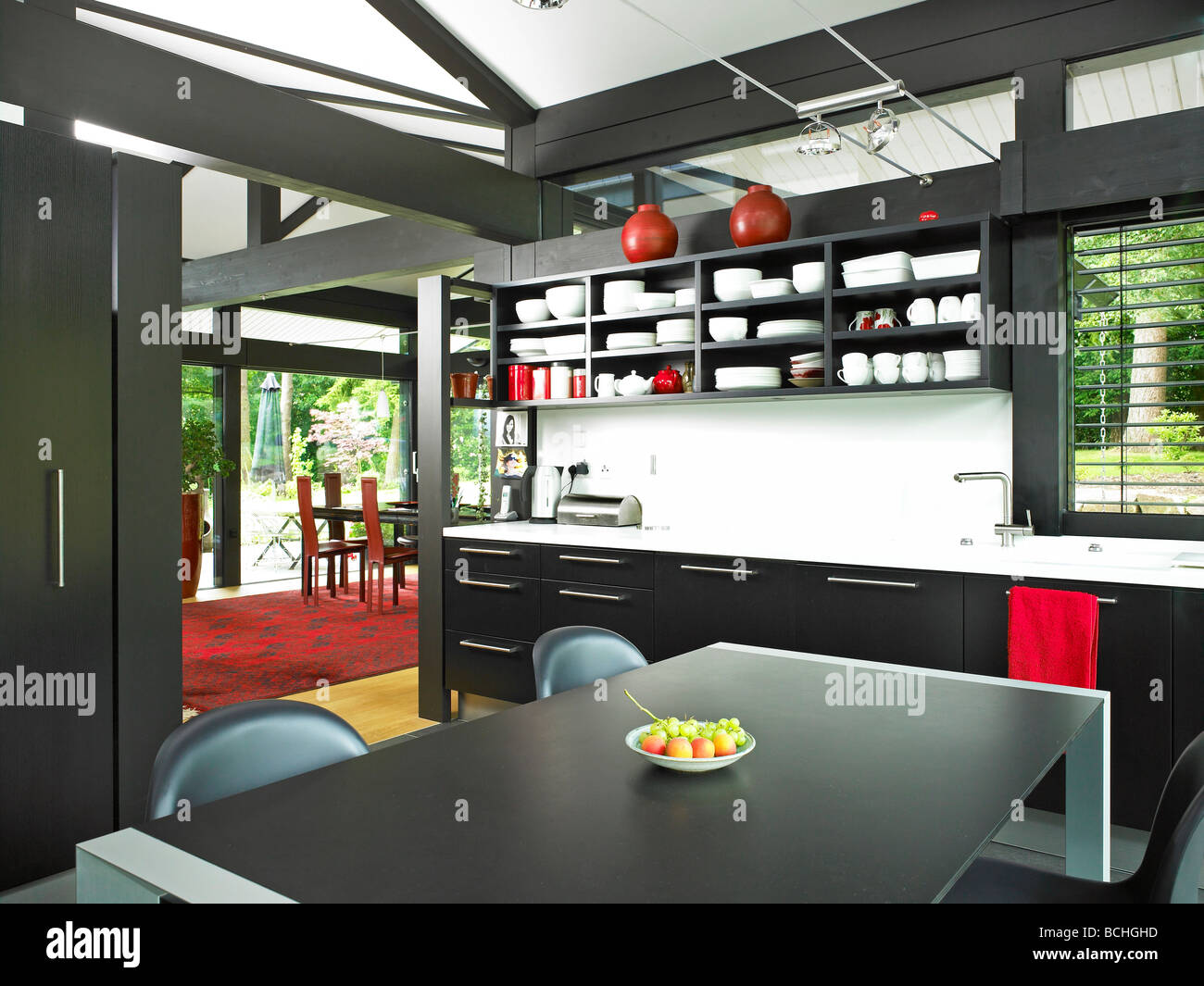 Self build huf haus kitchen interior stock photo royalty for Haus kitchens