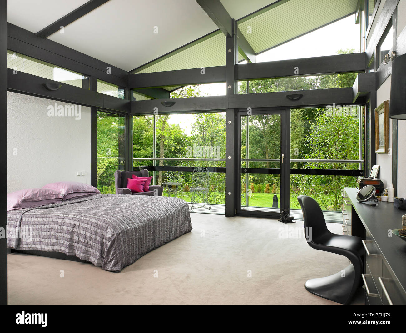 self build huf haus bedroom interior stock photo royalty free image 24973741 alamy. Black Bedroom Furniture Sets. Home Design Ideas