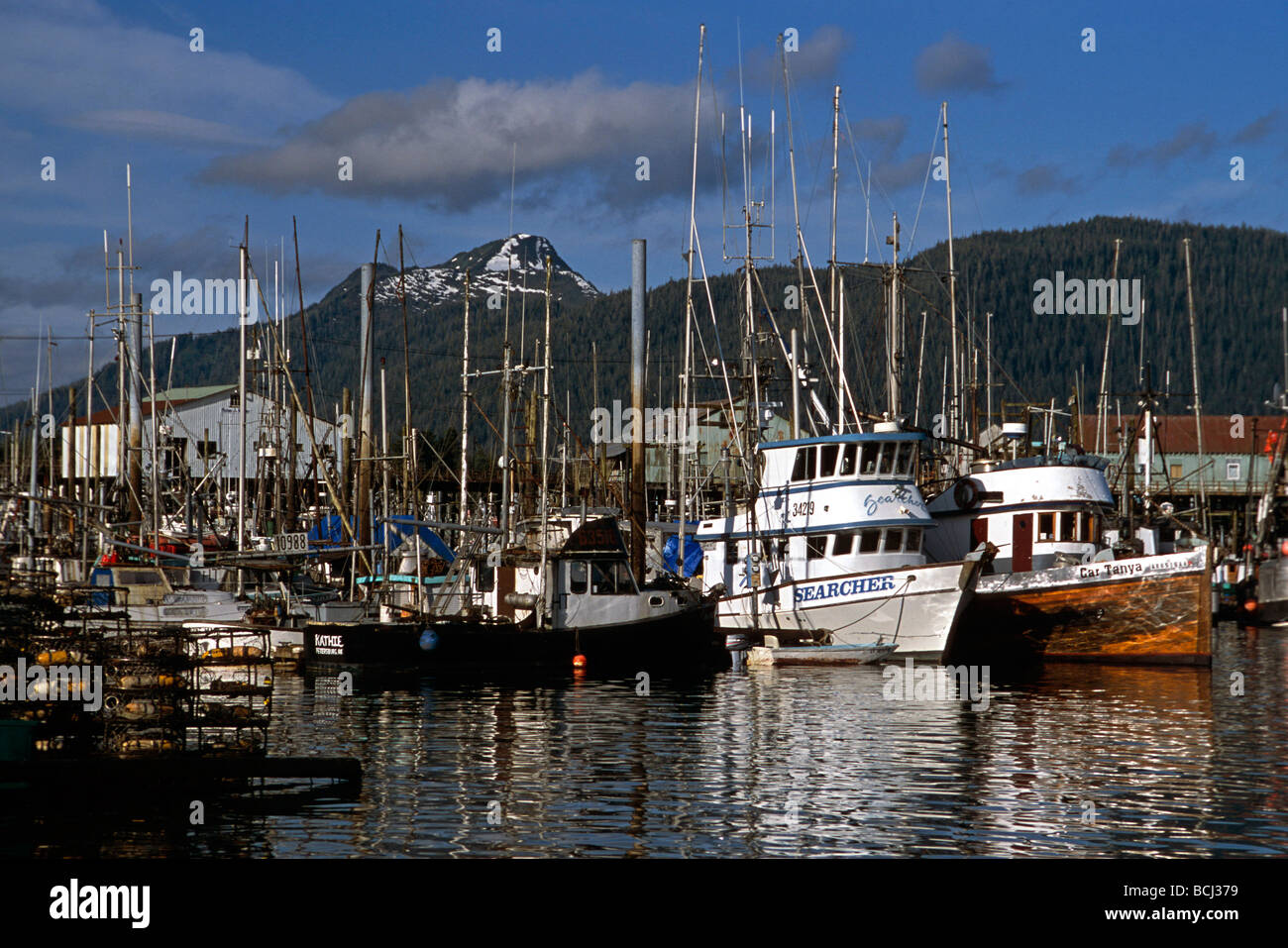 Boat harbor in petersburg alaska se summer stock photo for Petersburg alaska fishing
