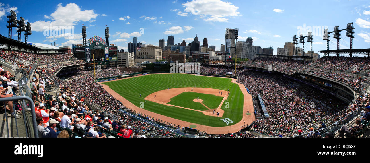Comerica Park Home Of The Detroit Tigers During A Baseball Game Between Cleveland Indians And