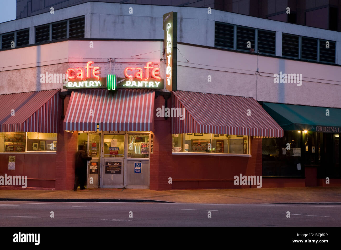 The Original Pantry Cafe with neon sign at dawn Los Angeles Stock
