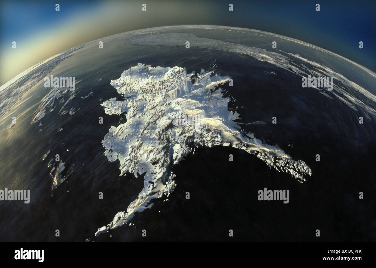 COMPOSITE Satellite View Of Alaska Digital Image COMPOSITE Stock - Satellite view
