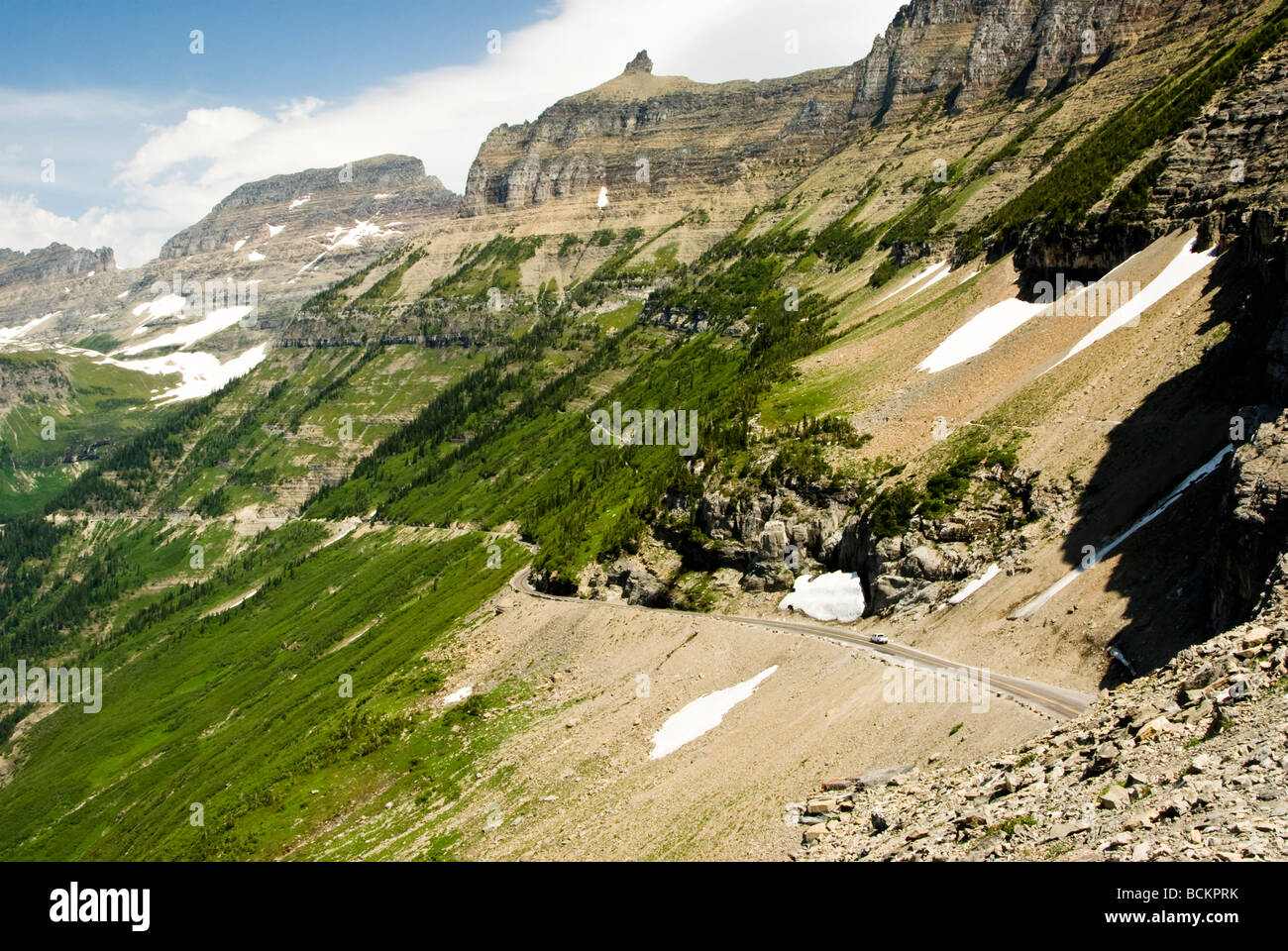 View Of The Garden Wall And Going To The Sun Road From The Highline Stock Photo 25021239 Alamy