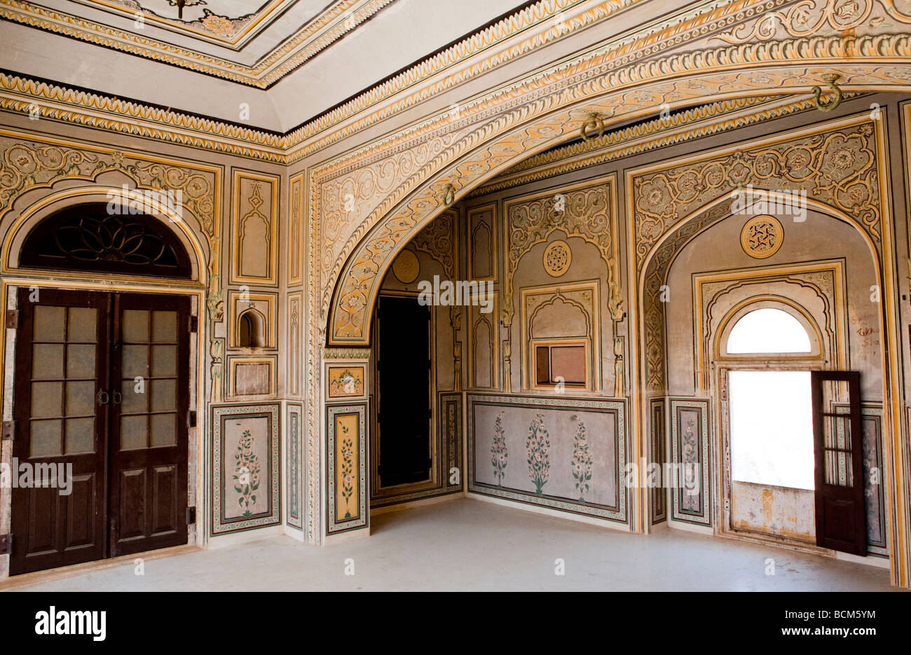 Interior Of The Amber Fort Jaipur Rajasthan India Stock