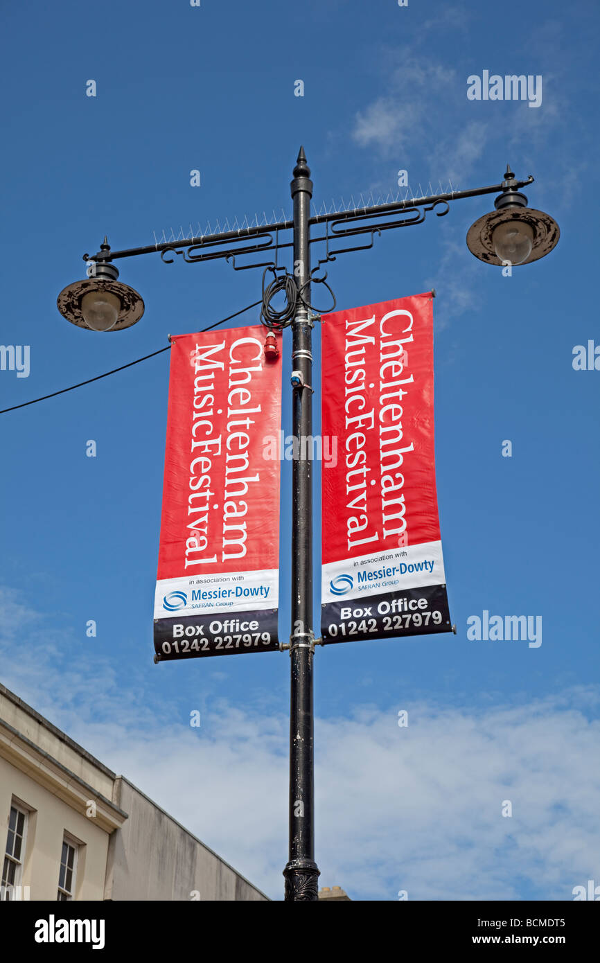 Bright Red Banners On Lamp Post In Cheltenham High Street - Street advertising
