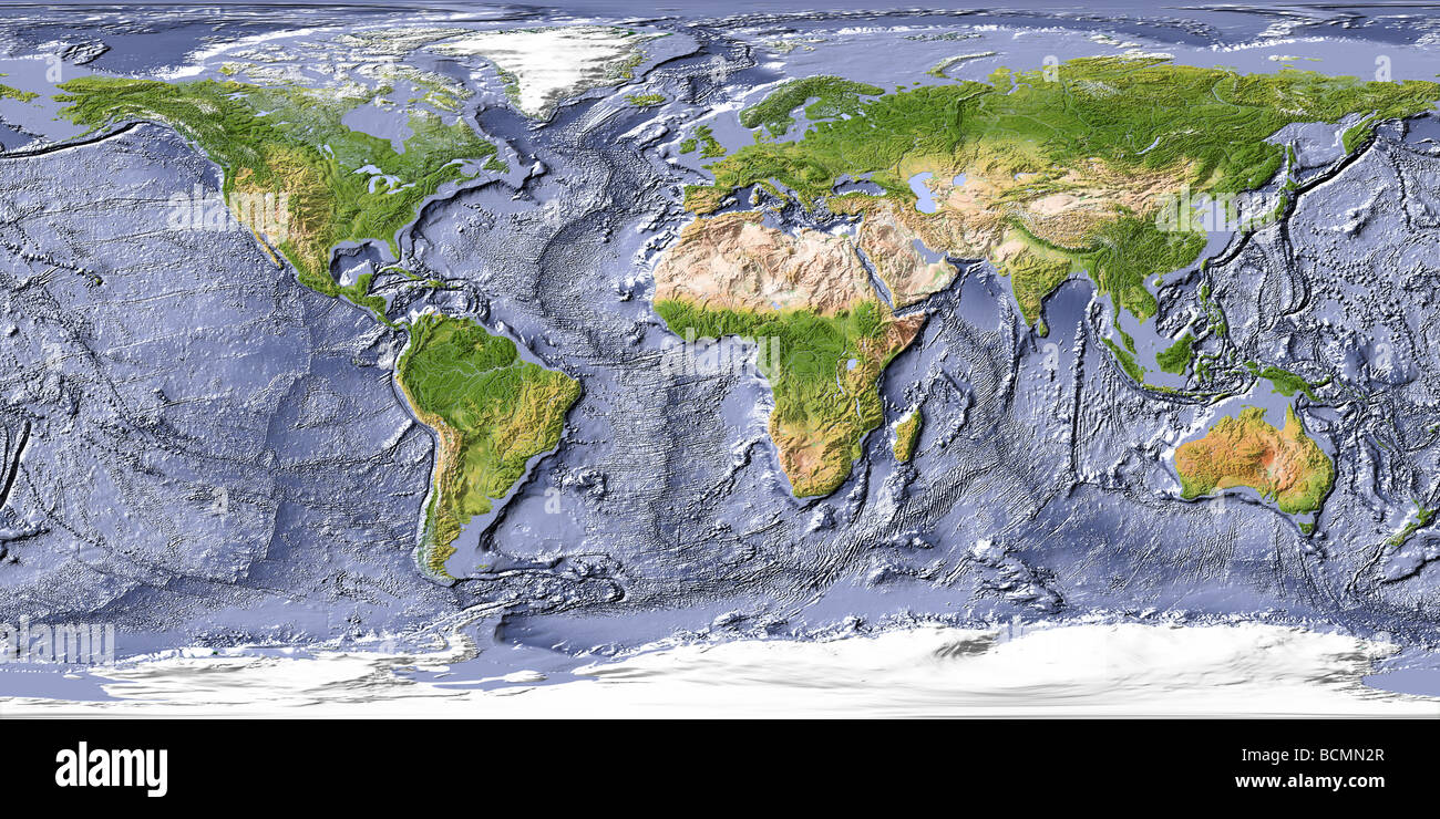 World Map, Shaded Relief With Shaded Ocean Floor