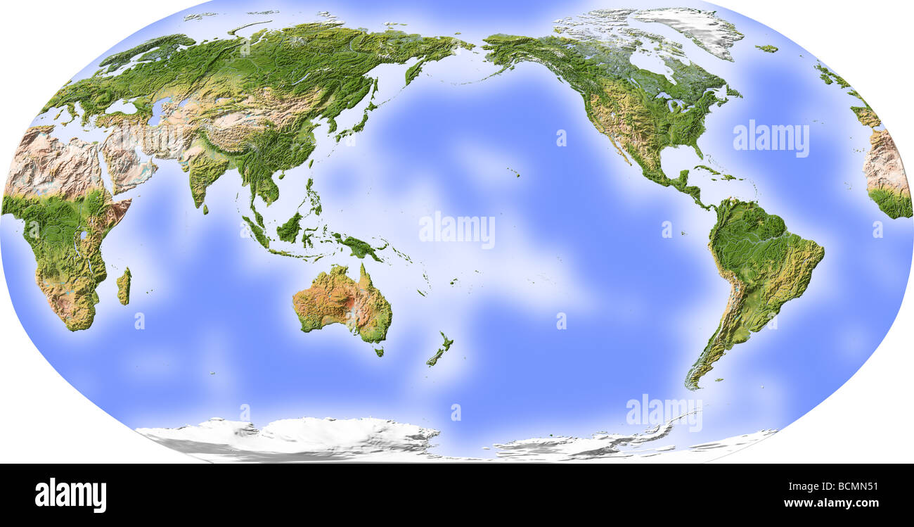 World map shaded relief centered on the pacific stock photo world map shaded relief centered on the pacific gumiabroncs Image collections