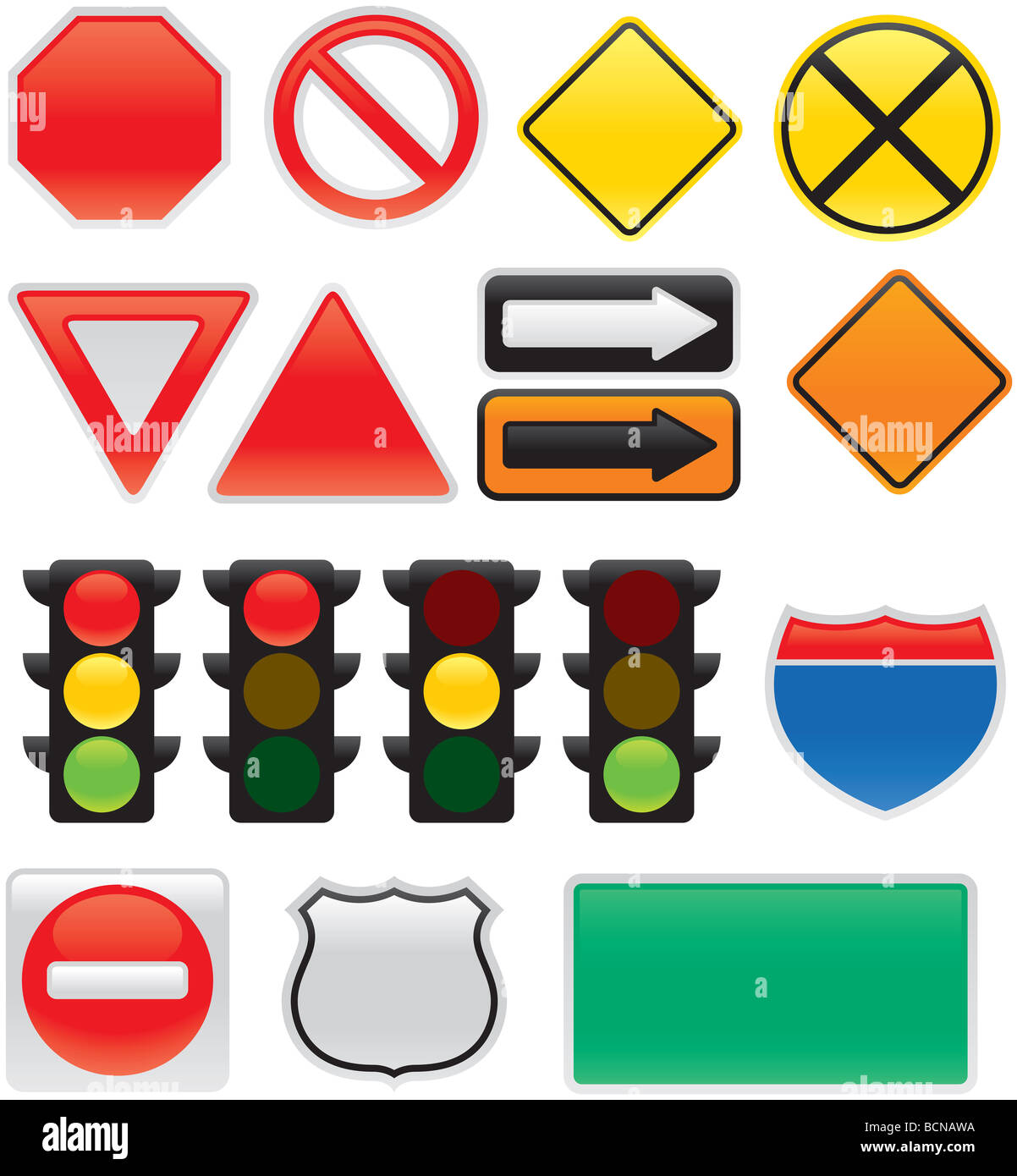 A collection of vector traffic signs and map symbols stop yield a collection of vector traffic signs and map symbols stop yield traffic lights interstate and highway signs one way detour biocorpaavc