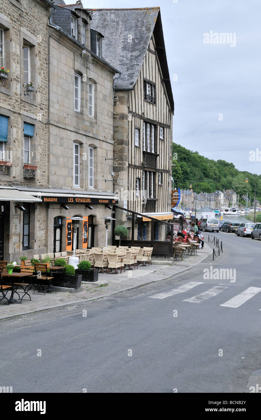 street view of dinan france showing les voyageurs restaurant and bar stock photo royalty free. Black Bedroom Furniture Sets. Home Design Ideas