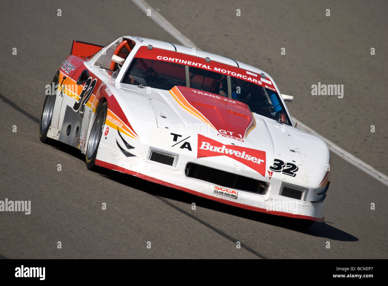 A 1986 Chevy Camaro GT-6 TransAm car at a vintage racing event Stock ...