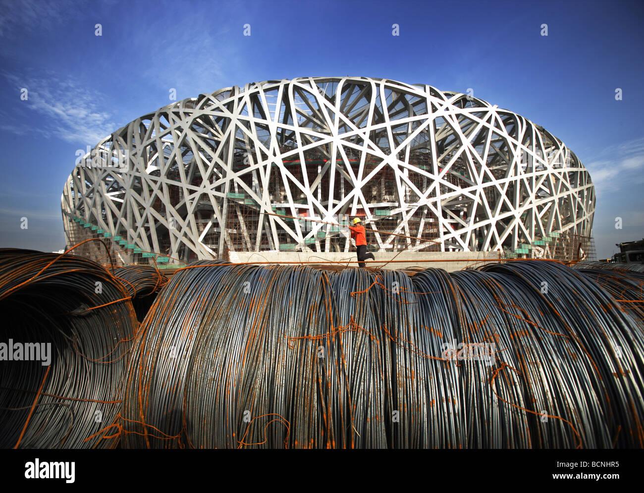 Massive steel coils beside the bird 39 s nest under for The nest beijing