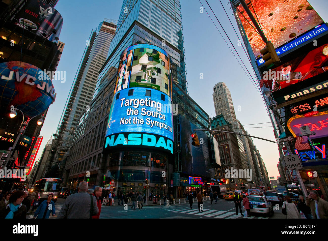 the nasdaq stock exchange building in times square in new york city stock photo royalty free. Black Bedroom Furniture Sets. Home Design Ideas