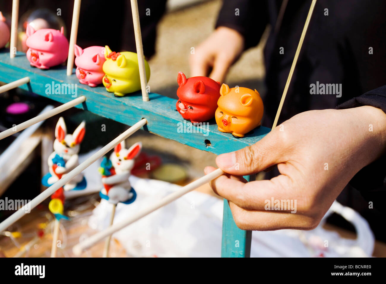 Traditional chinese toy flour dolls sold during dongyue temple fair during spring festival beijing
