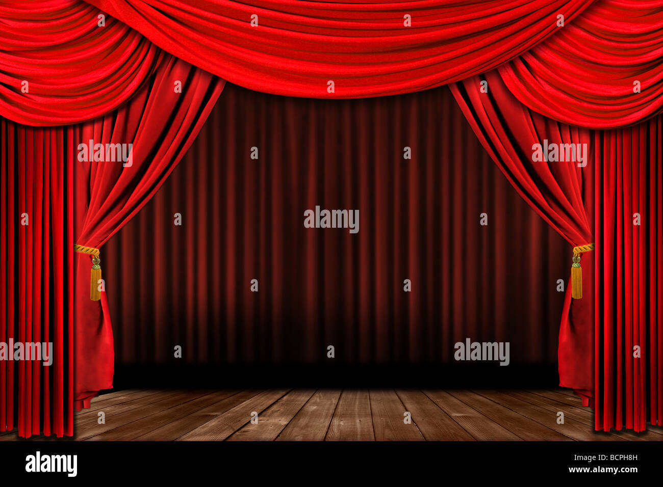 dramatic red old fashioned elegant theater stage with velvet curtain drapes - Velvet Curtain