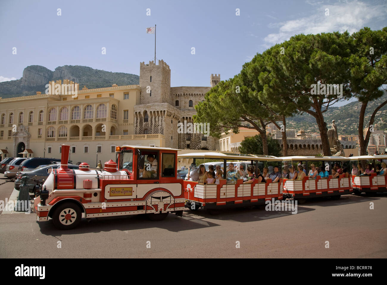 Tourist transport in shape of train in Monaco, South of France ...