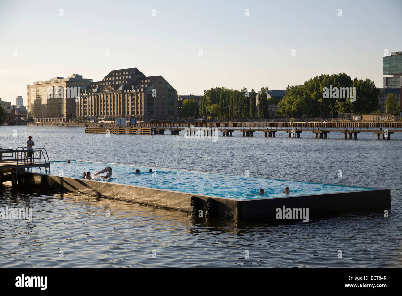 spree pool floating swimming pool in the spree river treptow stock photo royalty free image. Black Bedroom Furniture Sets. Home Design Ideas