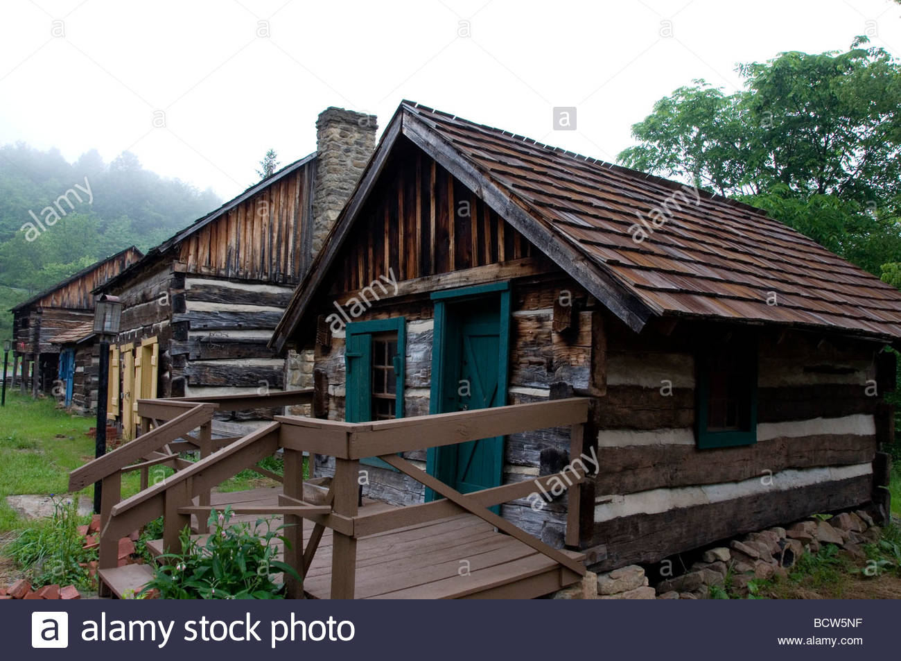 Log Cabins Fort New Salem Salem West Virginia Usa Stock