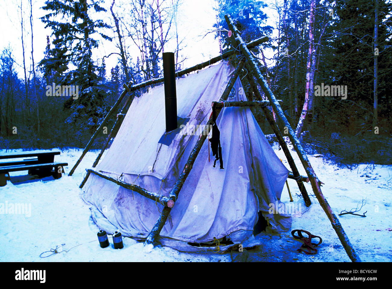 Winter C&ing in Snow Chimney Stove in Tent Liard River Hot Springs Provincial Park Northern British Columbia Canada & Winter Camping in Snow Chimney Stove in Tent Liard River Hot ...
