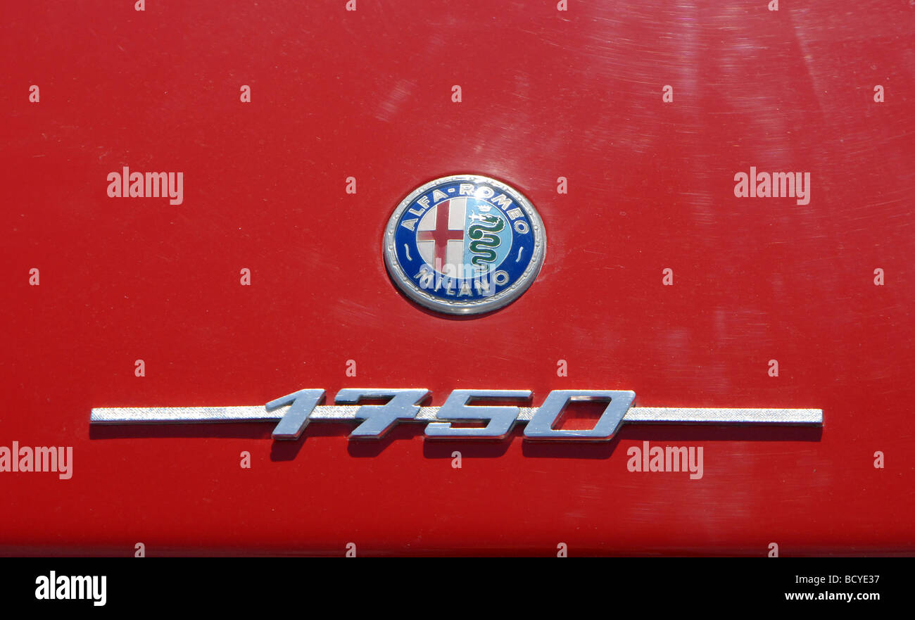 Alfa romeo 1750 gtv car classics -  Alfa Romeo Gtv 1750 Coupe Classic Red Italian Sports Car Badge And Logo Script Stock