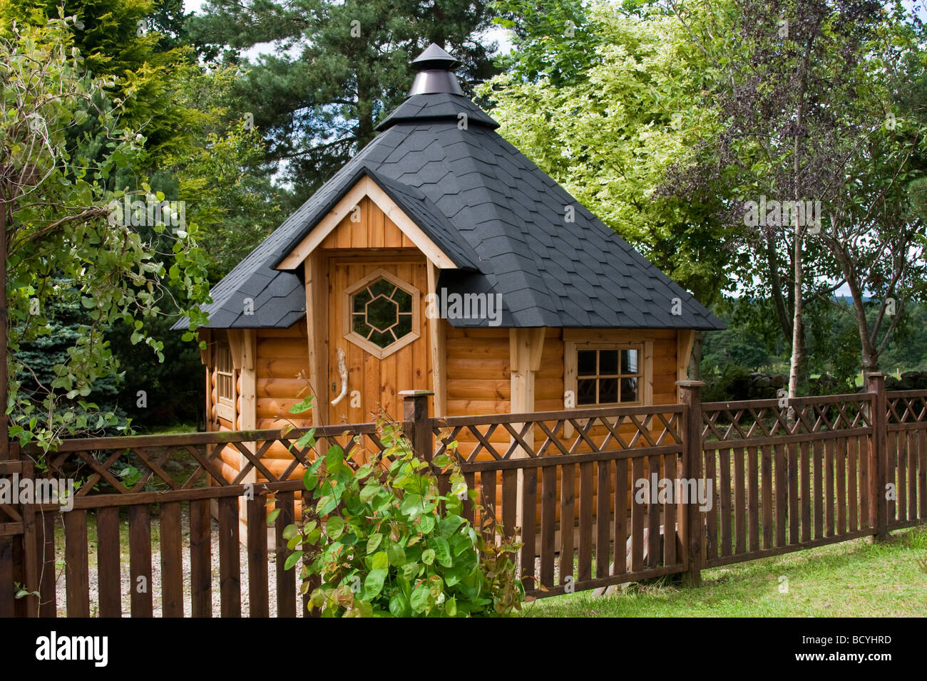 hexagonal wooden felted garden shed at deeside log cabins aberdeenshire scotland uk